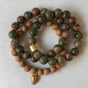 Jewelry - Natural Gemstone Bracelets Unakite 7'' Stretch